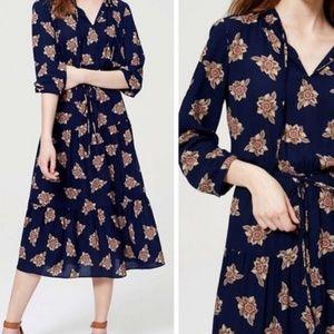 Loft Floral Ruffle Hem Midi Dress L O16